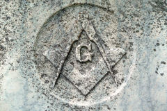 Masonic symbol detail on nineteenth century grave Royalty Free Stock Images