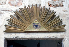 Masonic symbol in the Monastery of the Cross. JERUSALEM, ISRAEL - OCTOBER 19, 2016: Masonic symbol Radiant Delta in the Monastery of the Cross in Jerusalem stock images
