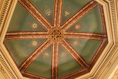 Masonic temple ceiling. Interior view of masonic lodge. ceiling. Philadelphia, Pennsylvania Royalty Free Stock Photo
