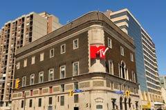 Masonic Temple with MTV signage royalty free stock images