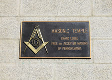 Masonic temple sign in Philadelphia. Plaque on wall. Old masonic temple lodge. Philadelphia, Pennsylvania Royalty Free Stock Photography