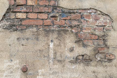 Masonry with broken stucco as a background Royalty Free Stock Photos