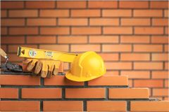 Masonry. Build bricklayer construction handyman layer trowel Stock Photography
