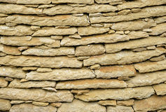 Masonry of limestone flat tiles Royalty Free Stock Photos