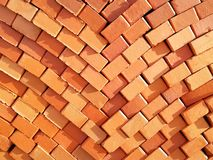 Masonry red bricks. Storage of building bricks. Production and sale of building materials royalty free stock images