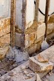 Masonry stone wall construcion process traditional Royalty Free Stock Image