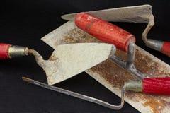 Masonry tools in a mess Royalty Free Stock Photos