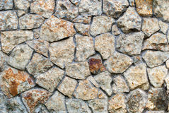 Masonry Wall of color stones with irregular pattern, background Stock Photo