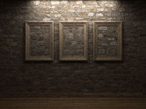 Masonry wall with wood frames Royalty Free Stock Images
