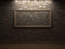 Masonry wall with wood frames Stock Image