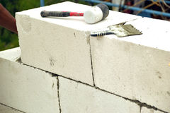 Masonry walls of aerated concrete Royalty Free Stock Photo