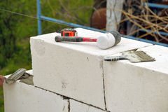 Masonry walls of aerated concrete Stock Images