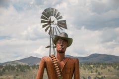 Masonville Metal Gunslinger. A metal statue of a gunslinger in Masonville, CO Stock Photography