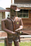 Masonville Metal Sherriff 02. A metal statue of a Sherriff in Masonville, CO Stock Photos