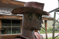 Masonville Metal Sherriff 01. A metal statue of a Sherriff in Masonville, CO Royalty Free Stock Photos