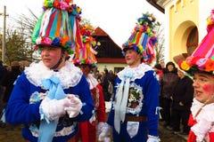 Masopust προ-νηστήσιμο καρναβάλι στα άτομα Δημοκρατίας της Τσεχίας στο κοστούμι Στοκ Εικόνες