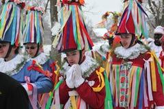 Masopust karneval Ceremoniell Shrovetide procession, tjeckiska Repub Royaltyfria Bilder