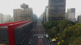 MASP, Brazil, August, 2017. Aerial view on Paulista Avenue, in Sao Paulo citySao Paulo, Brazil, August, 2017.