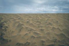Maspalomas沙丘自然储备的沙子纹理视图,在大加那利岛,加那利群岛,西班牙 免版税库存图片