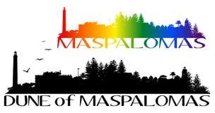 Maspalomas海滩和灯塔  免版税图库摄影