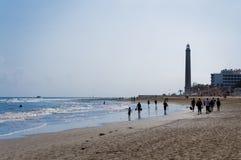 maspalomas Испания маяка canarias пляжа стоковые фотографии rf