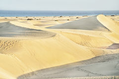 Maspalomas beach with sandy dunes. Gran Canaria, Canary islands, Spain. Copy space. Royalty Free Stock Photography