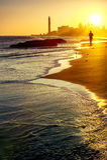 Maspalomas beach at sunset. Gran Canaria, Canary islands, Spain Stock Images
