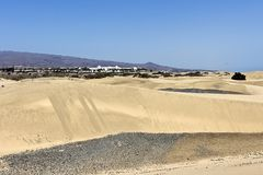 Maspalomas,Gran Canaria - The sand dunes in famous natural area and the village in  background . Canary Islands, Spain. The Dunas De Maspalomas is a protected royalty free stock images