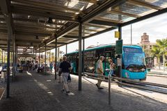 Maspalomas, Gran Canaria in Spain - December 11, 2017: Bus standing at Faro de Maspalomas bus and transportation station royalty free stock photo