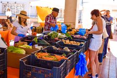 Traditional street market in canary island stock photo