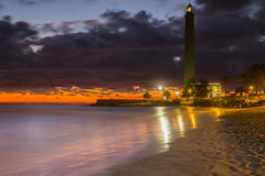 Maspalomas Lighthouse. In Gran Canaria during the sunset (Golden-Hour Royalty Free Stock Images