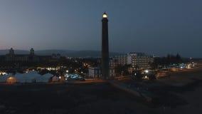 Maspalomas Lighthouse night view, Gran Canaria Island, Spain stock footage