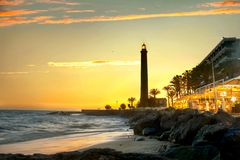 Maspalomas lighthouse at sunset. Gran Canaria, Spain royalty free stock photo