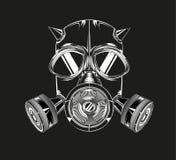 Masque à cornes sur un fond noir Photographie stock