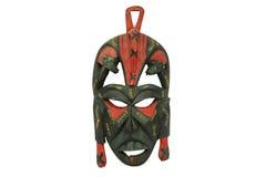 Masque africain en bois d'isolement sur le fond blanc Photographie stock