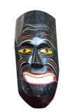 Masque africain peint en bois d'isolement au-dessus du blanc images libres de droits