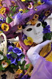 masque avec des fleurs au carnaval Photographie stock