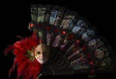 Masque avec la fan se pliante Image stock