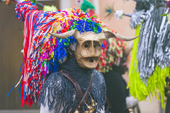 Masque avec le klaxon et le chapeau à la province d'Aliano de Matera Photographie stock libre de droits