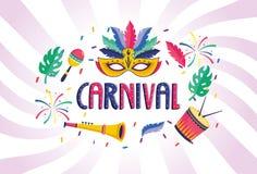 Masque avec le tambour et la trompette pour faire la fête le festival illustration libre de droits