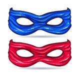 Masque bleu et rouge pour le superhéros de caractère de visage dans le style des bandes dessinées Photographie stock libre de droits