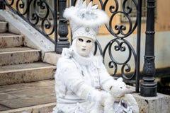 Masque carnaval blanc de Venise Images libres de droits