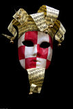 Masque checkered rouge et blanc de carnaval photo libre de droits