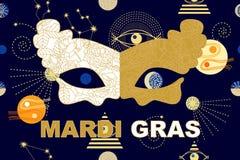 Masque d'or de carnaval sur le fond foncé de ciel illustration stock