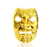 Masque d'or de diable d'isolement sur le fond blanc Image stock