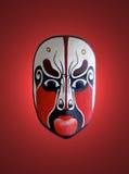 Masque d'opéra chinois avec le fond rouge Photographie stock libre de droits