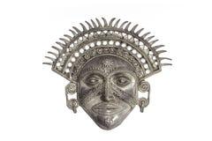Masque d'un dieu soleil d'isolement sur le fond blanc Photos libres de droits