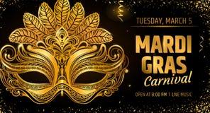 masque d'or vénitien Calibre de carte d'invitation de partie de carnaval vacances de ressort Illustration EPS10 de vecteur illustration libre de droits