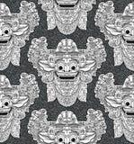 Masque de Barong d'un dieu de lion de Balinese dans le modèle sans couture de style de griffonnage Illustration de Vecteur