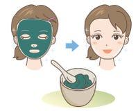 Masque de beauté - boue ou algue - matériaux naturels illustration de vecteur